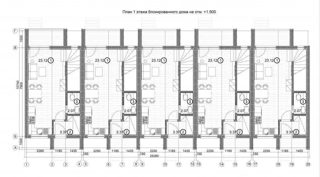 Планировка 1 этаж пятимодульный 2