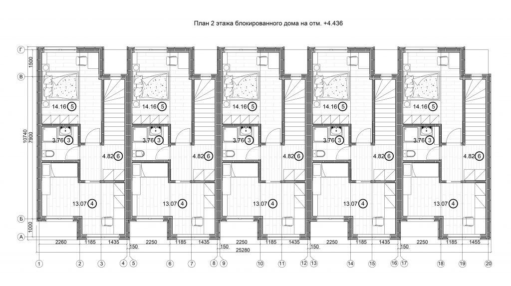 Планировка 2 этаж пятимодульный 2
